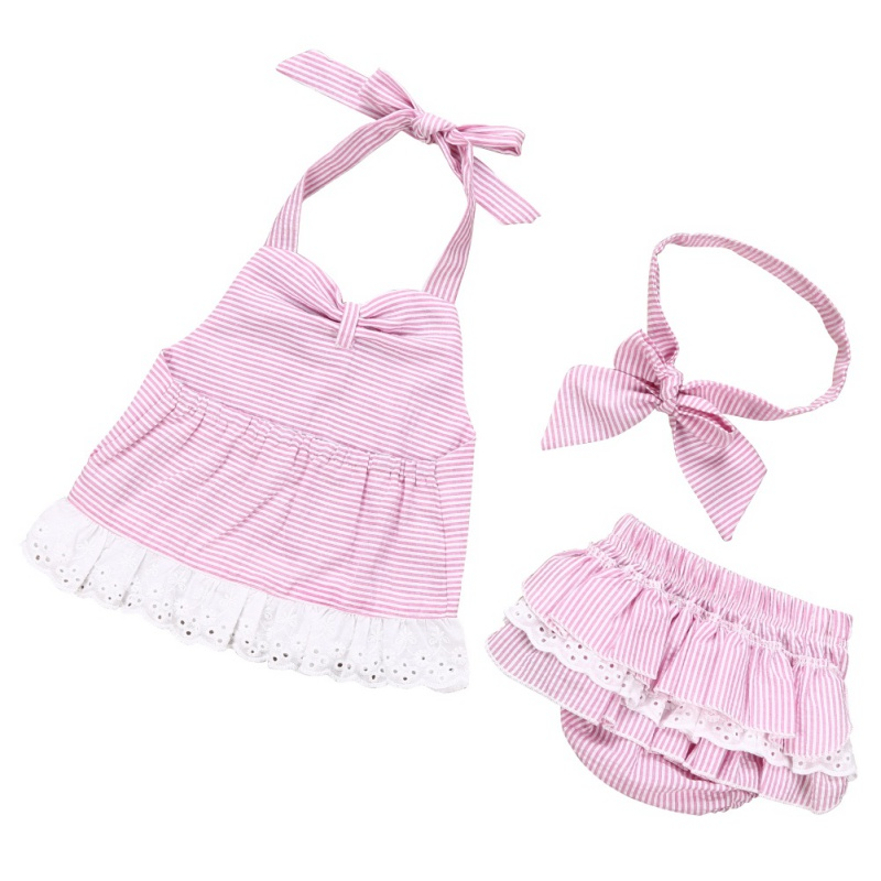 2018 New Style 0-2Y Baby Girls Cute Clothes Set Kids Girl Pink Striped Harness Dress + Collar Set Hot Sale M1