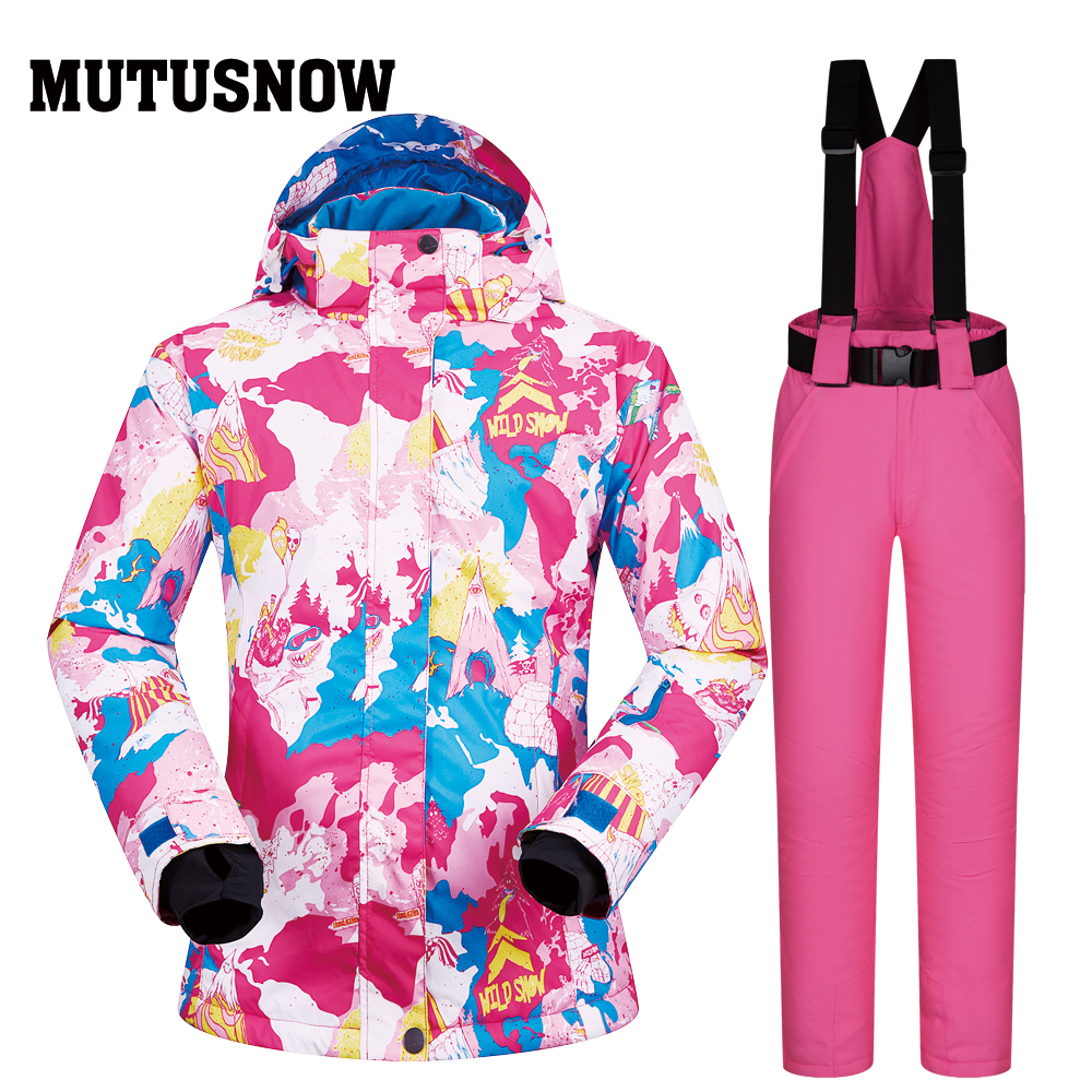 все цены на Women Ski Suit Brands 2018 New XUEREN Windproof Waterproof Breathable Warmth Snow Pants Winter Sets Skiing And Snowboard Jacket онлайн