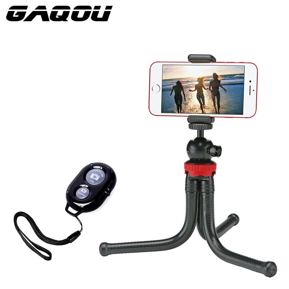 GAQOU Mini Tripod Flexible Octopus Mobile Phone Tripod Bracket With Remote Control Monopod Selfie Stick For IPhone Gopro Camera