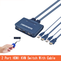 HDMI KVM Switch 2 Port With Cable for Dual Monitor USB Keyboard Mouse HDMI switch Support desktop controller