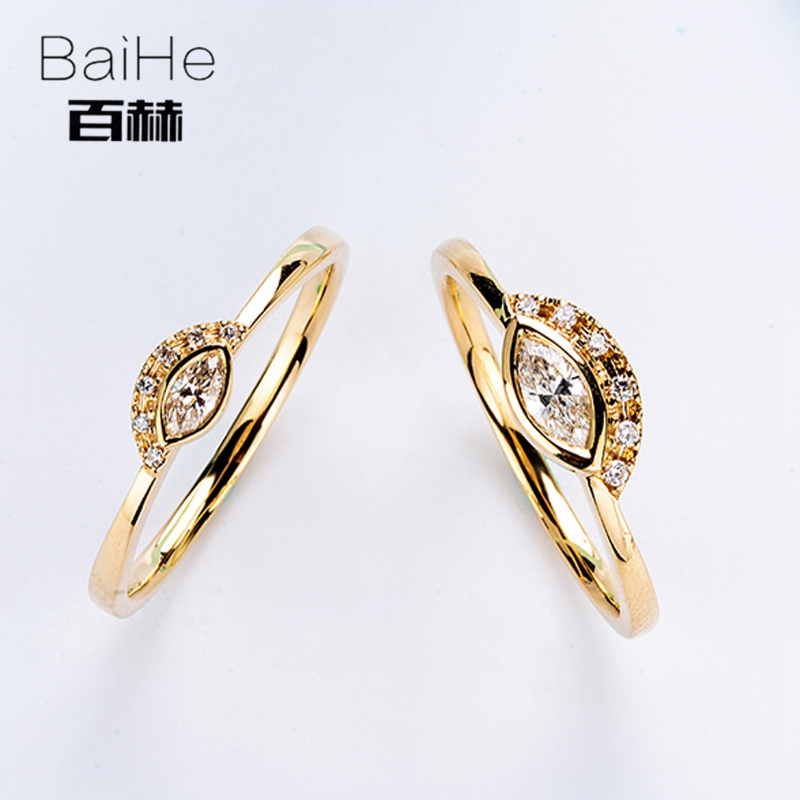BAIHE Solid 14K Yellow Gold 0.06CT Certified H/SI Marquise cut Genuine Natural Diamonds Wedding Women Trendy Fine Jewelry Ring