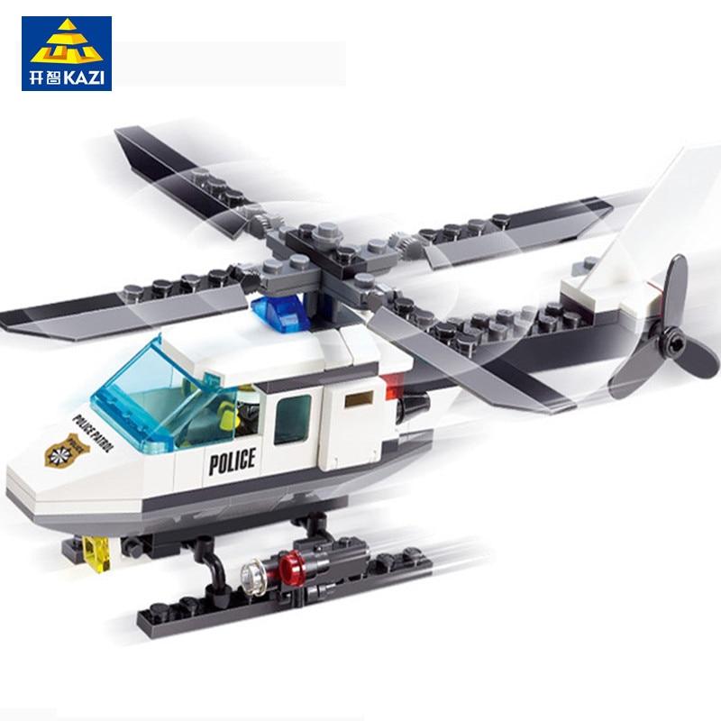 KAZI Police Station Building Blocks Helicopter Model Airplane Bricks Playmobil Toys For Children