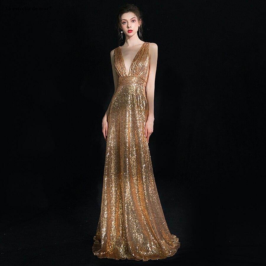 Vestido madrinha de casamento longo new sexy V-neck halter sexy mermaid gold sequin   bridesmaid     dress   long wedding party gown