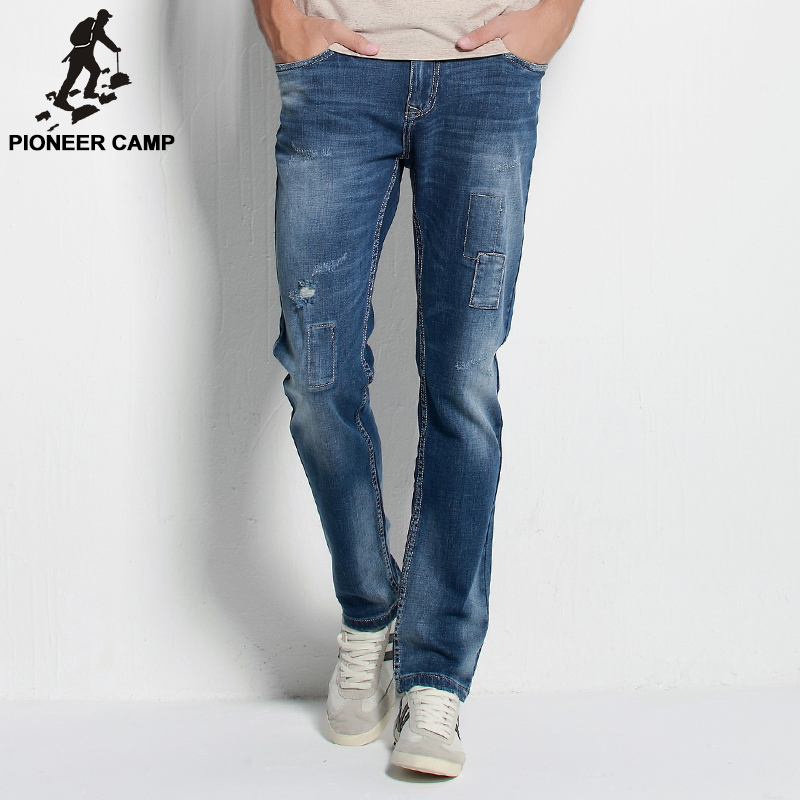 ФОТО Pioneer Camp.Free shipping!2017 autumn new arrival mens jeans fashion casual mens pants breathable cotton elastic jeans for men