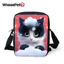 WHOSEPET Women Messenger Bags Cartoon Cats Prints Animal Cross Body Shoulder Cool Girls School Lady Mini Flap Postbags