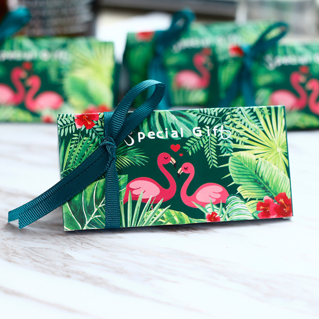 Green Flamingos Special Gift Box With Ribbon Wedding Favor Candy