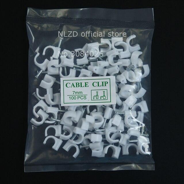 7mm Kreis Pfad kabel clips Runde weiße kabel nail draht clips 100 ...
