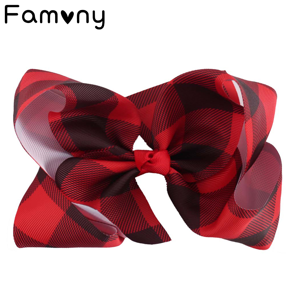 "6"" Buffalo Plaid Ribbon Hair Bows With Clips For Kids Girls Princess Handmade Boutique Printed Bows Hairgrips Hair Accessories"