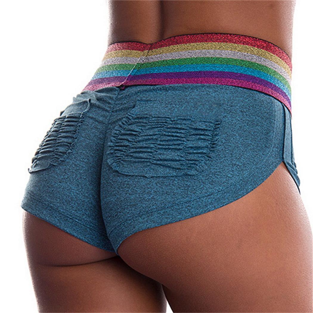 Women Yoga Fitness Shorts High Waist Elastic Slim Pleated Pocket Fitness, Yoga, Etc Safety Pants Summer