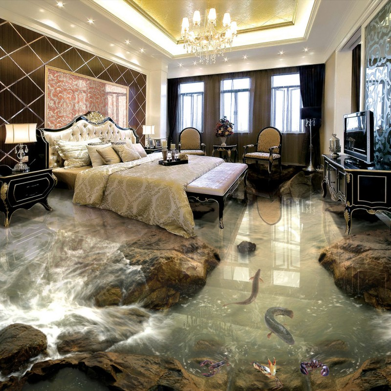 Free Shipping Beach sand river living room bathroom 3d floor wallpaper waterproof thicken self-adhesive floor mural