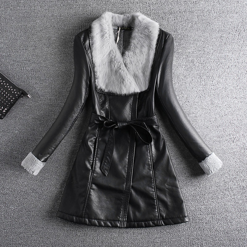 Sale on Sep. 2017 PU leather full sleeve grey fur collar lamb inside black coat pockets with waist belt thickened jacket female