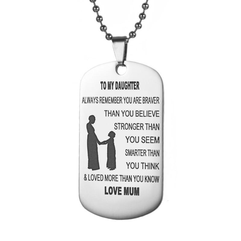 Zodiac Dog Tag Stainless Steel Pendant Necklace: To My Daughter Necklace Dog Tag Stainless Steel Pendant