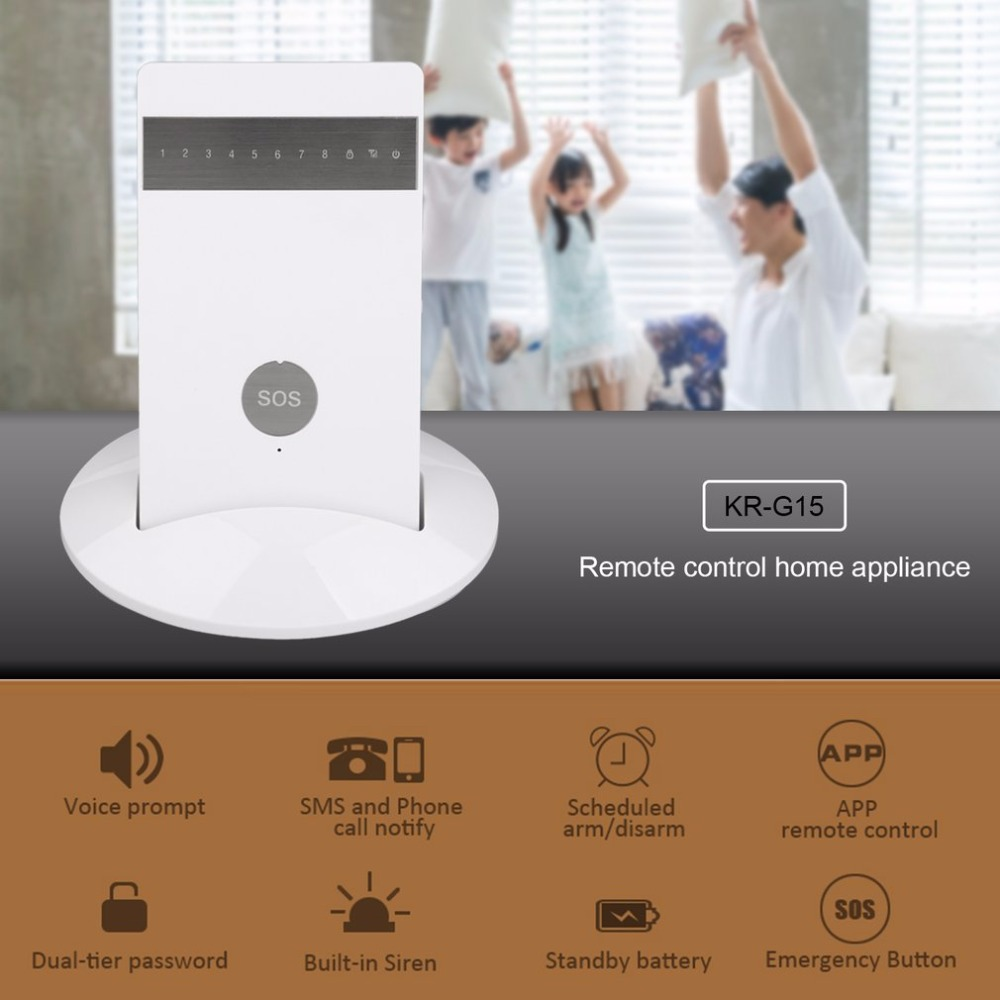 Secrui KR-G15 Digital Voice GSM Home/Commercial Wireless Burglar Alarm System Kit With PIR & Door Detector & Remote Control датчики сигнализации secrui kr gd13 150 433 kr gd13