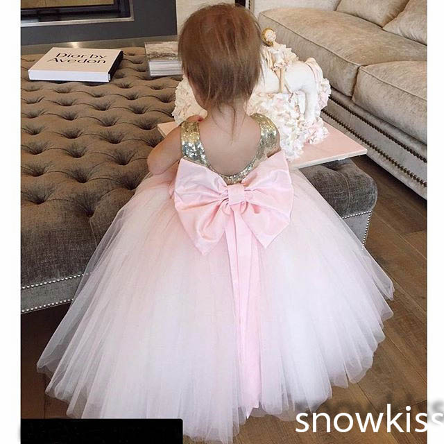 Nice gold and pink sequined flower girl dresses with bow sash lovely wedding 1 year birthday parties tulle ball gowns custom 2018 pink sequined glitter tulle