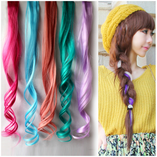 24 Colors 20 Single Clip In Hair Extension Colorful Synthetic