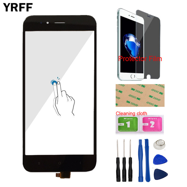 Touch Screen Panel For Xiaomi Mi A1 MiA1 MDG2 Touch Screen Digitizer Panel Front Glass 5.5 Mobile Protector Film Adhesive