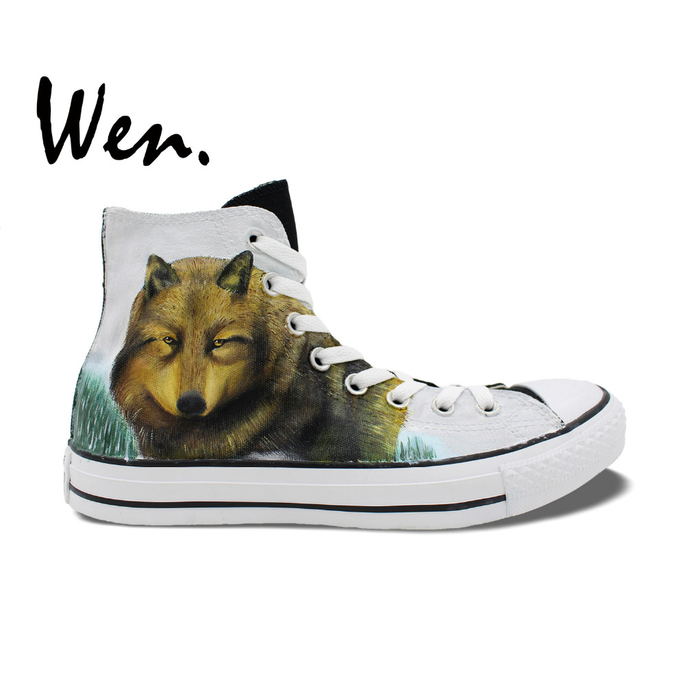Wen High Top Sneakers Twilight Wolf Design Hand Painted Skate Shoes Custom Man Woman's Gifts Canvas Clause Portable Sport Shoes wen original hand painted canvas shoes space galaxy tardis doctor who man woman s high top canvas sneakers girls boys gifts
