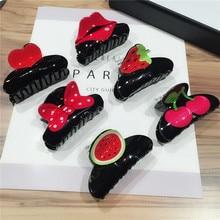 ФОТО new fashion women girls cute cherry strawberry watermelon bow heart print acrylic hair claws spring summer fruit headwear