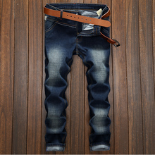 Italian Design Men Jeans Dark Blue Denim Stripe Jeans Mens Pants  Buttons Motor Biker Jeans Men Street Ripped Jeans 089060
