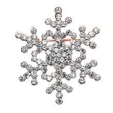 Delicate Hot! 2018 moda broche pino cristal strass grande floco de neve inverno neve tema broche melhor presente presente 2018 jun13