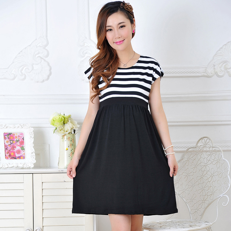 Maternity Dress casual Cotton Maternity Clothes Black Stripe Chiffon Pregnant Dresses Bat Sleeve Clothing for Pregnant Women