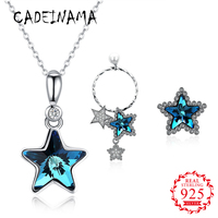 CADEINAMA Star Austria Crystal Pendant Necklace Stud Earrings Set Pure 925 Sterling Silver Girl Women Fine Jewelry Party Gifts