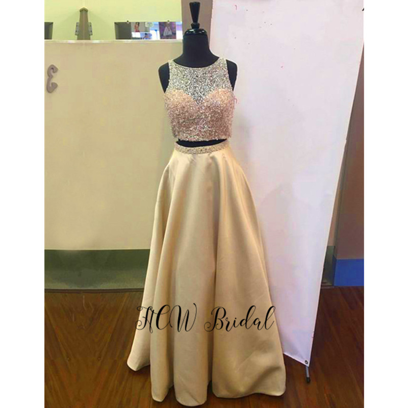 Bling Beaded 2 Piece   Prom     Dresses   A Line Floor Length Champagne Satin Long Evening Gowns 2019 Hot Selling Wedding Party   Dress