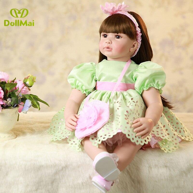 """Long Hair Princess Realistic Reborn Baby Dolls Soft Silicone 23"""" /58cm Lifelike Newborn Doll Girl Xmas Gift Dollmai"""