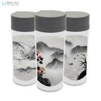 Kunststoff Isoliert Chinesischen Tinte Oriental Green Anlage Floral Bambus Orchidee Wasserflaschen 300 ml Geschenk BPA FREI Breiten Mund Drink