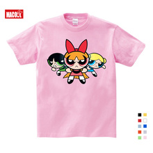 Hot Sale The Powerpuff Girls Childrens T Shirt Blossom Cotton Short Sleeve Tshirt Clothes Fun T-shirt for Baby 3-12 years