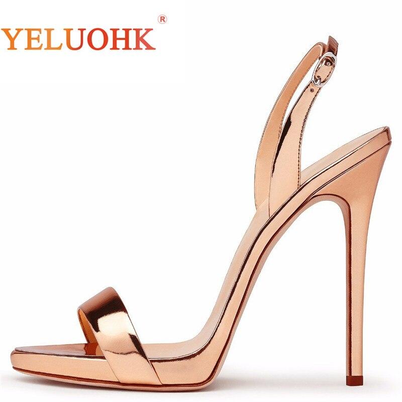 34-45 Sexy De Salto Alto Extremas Sandálias Das Mulheres Tamanho Grande 2018 mulheres Sapatos de Verão Sandálias de Couro de Patente Das Mulheres 12 CM Top qualidade