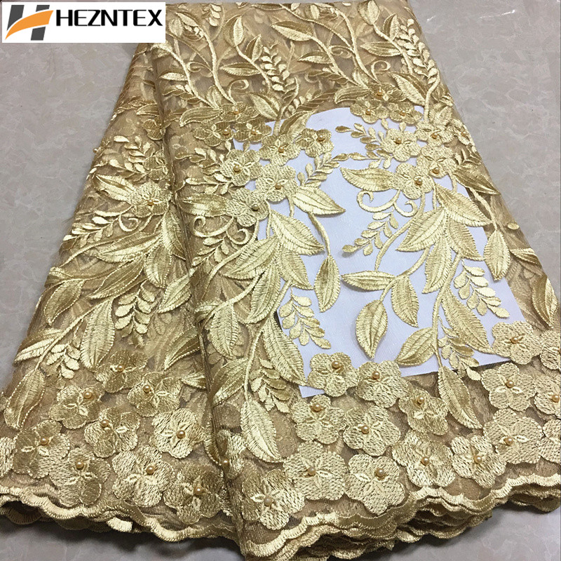 New Arrival Nigeria Tulle Fabric Gold French Net Lace Embroidered Lace Fabric With Beads Swiss Voile
