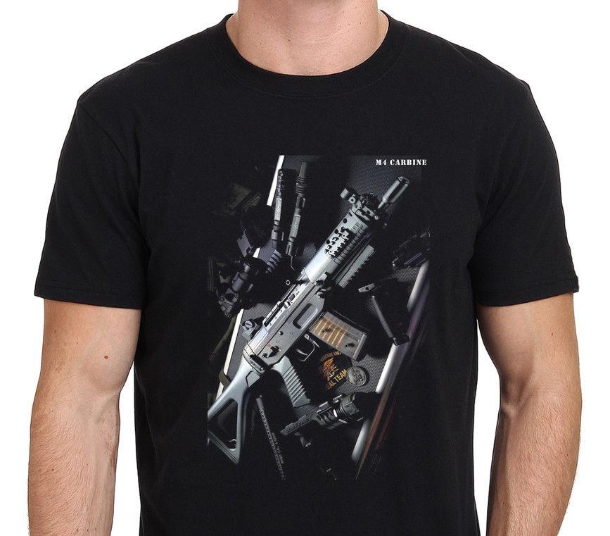 M4 Carbine M16 Us Army Rifle Gun T-Shirt Black Tee Shirt Casual Man Unisex Tees