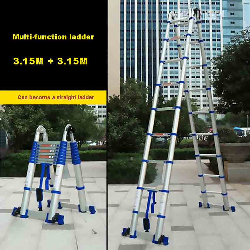 Portable Household Folding Ladder JJS511 High-quality Thick Aluminum Alloy 3.15M+3.15M Multi-function Ladder Engineering Ladder