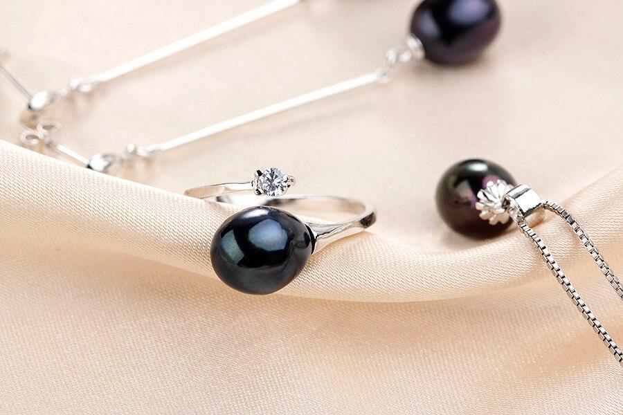 HTB17U8efYsTMeJjy1zbq6AhlVXaO 2019 Hot selling Black Pearl Jewelry sets Fashion 925 sterling silver jewelry for women wedding/party jewelry Lowest Price