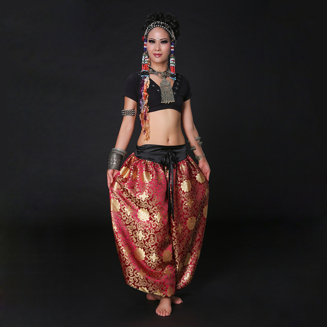 ea8f4e74f Women ATS Tribal Belly Dance Clothes Choli Tops and Pants Gypsy Dance  Bloomers Harem Trousers Pants