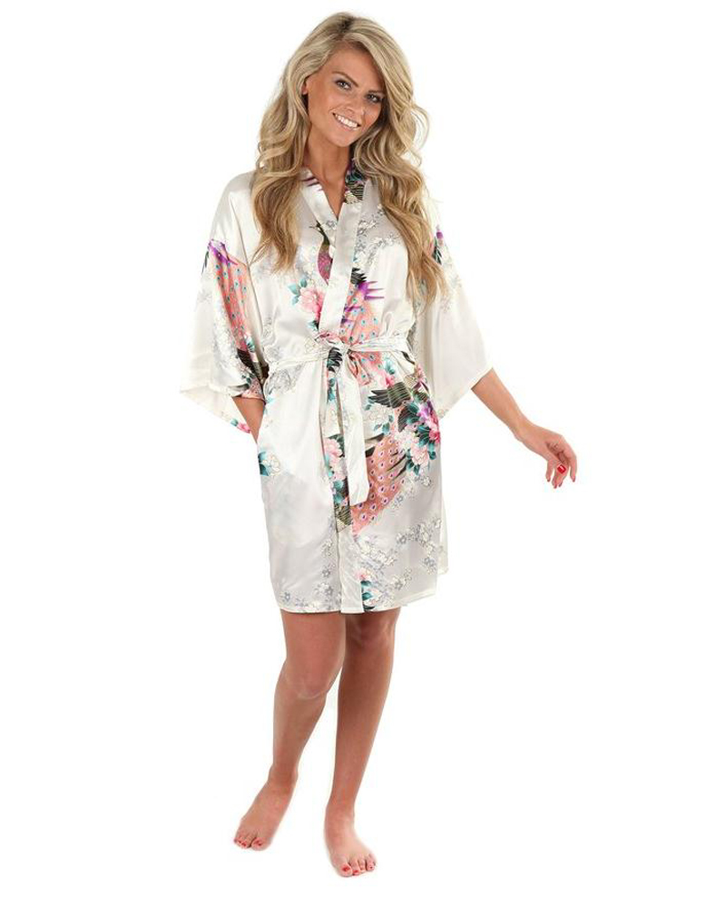 Sexy White Printed Female Mini Silk Robe Rayon Kimono Yukata Night Dress Gown Flower &Peacock