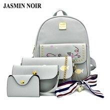 Jasmin Noir печати Для женщин рюкзак для Обувь для девочек милые животные кошка рыбы мультфильм школьная сумка леди 4 шт. комплект Ленты путешествия Bagpack