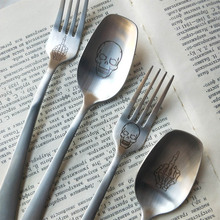 Home 304 Metal Fork Spoon Travel Cutlery Fork Picnic Set Gift for Child Adults Dinnerware Skull & Popular Skull Dinnerware Set-Buy Cheap Skull Dinnerware Set lots ...