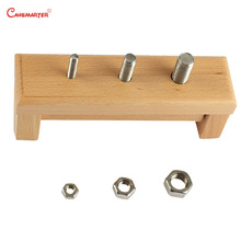 Wooden Montessori Toys Beech Wood Base Nut Screw Exercises Baby Sensorial Game Educational Toy Boy Girl 3 Years Toddler PT003-3