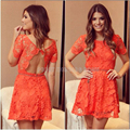 Beautiful Orange Lace Short Homecoming Dresses With Sleeves Pretty Homecoming Dress Mini Prom Gowns Cheap Party Dresses HC110