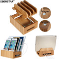 Bamboo Multi-device Cords Charging Station Docks Holder Stand for Smart Phones and Tablets