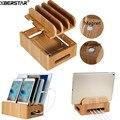 Estación de Carga de bambú Multi-dispositivo de Cordones Muelles Soporte para Los Teléfonos Inteligentes y Tabletas