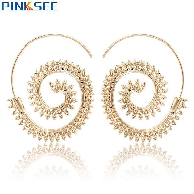 Indien Femmes En Tribal Spirale Boucles D'oreilles Laiton Style QrdCBeWExo