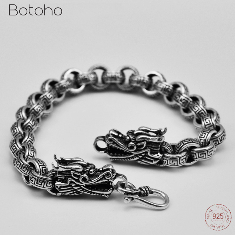 New Arrive Double Chinese Dragon Head Thai Silver Bracelet Classic 925 Sterling Silver Great Wall Bracelet for Women Men Jewelry 8mm wide 20cm 925 sterling silver vintage heavy chinese dragon body bracelet men thai silver gift jewelry ch058041
