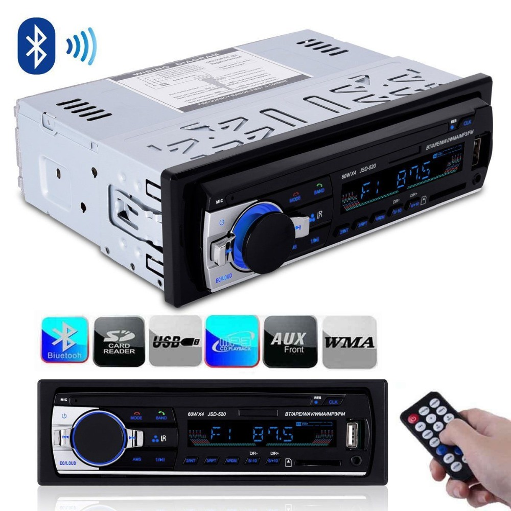 1 Din Car Radio Stereo MP3 Audio Player 520 Bluetooth Handsfree FM Autoradio Auto Radio Remote Control AUX SD USB DC 12V 60Wx4 image