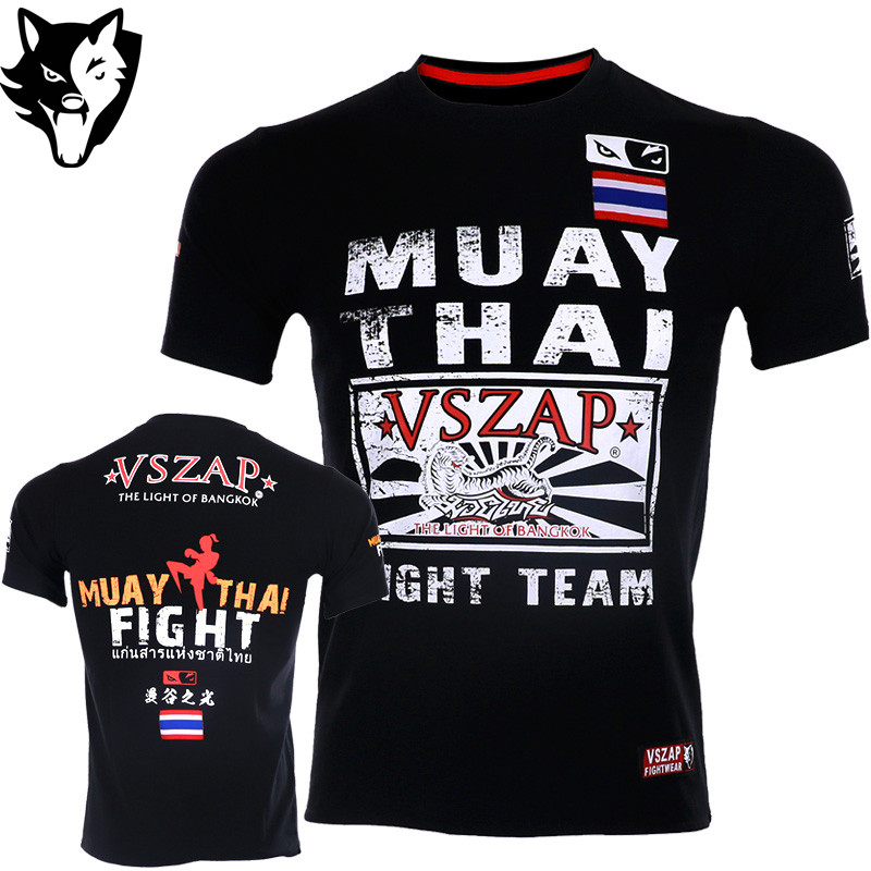 VSZAP Shogun Bodybuilding Short-sleeved T Shirt MMA Fitness Sanda Fighting Thai Boxing Martial Arts Running Gym Man
