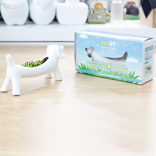 Dog Flower Pot Ceramic Mini Planters Succulents Desktop Plant Pots Cartoon Planting With Gift Box 8.3