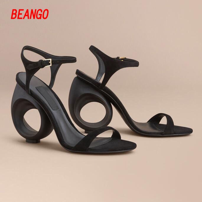 BEANGO summer sandals peep toe strange high heels ladies women shoes sandals solid color party shoes suede Leather buckle strap 2016 summer medium strange rhinestone heels women suede sandals ankle buckle leopard print high quality ladies sexy dress shoes