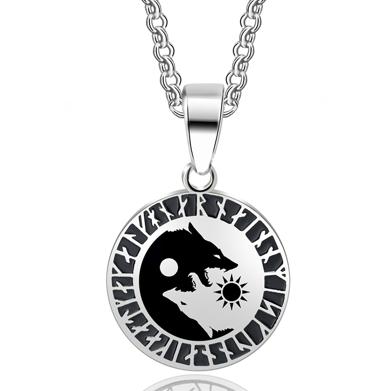 ABAICER-1 stücke Yin Yang Wolf Sun Moon 316L Edelstahl Nordischen Vikings Anhänger Halskette Viking Amulett Anhänger Nordic Talisman